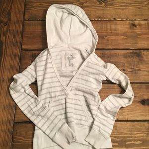 Abercrombie & Fitch Striped Gray V-Neck Hoodie